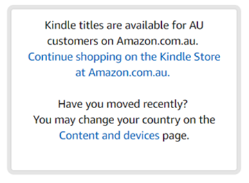 Notice regarding Kindle titles availability in another country or marketplace